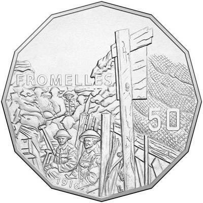 Австралия, 50 центов 2016 года Битва при Фромеле (реверс).jpg