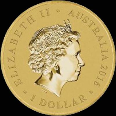 Австралия, 1 доллар 2016 года, 90 лет королеве (аверс).jpg