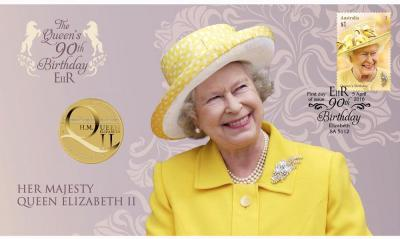 Австралия, 1 доллар 2016 года, 90 лет королеве (конверт).jpg