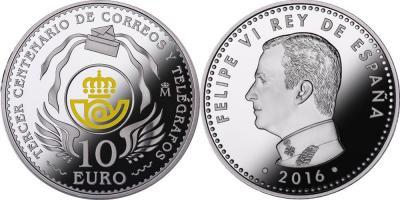 Испания 10 евро 2016 года «300 лет почтовой службы Испании».jpg