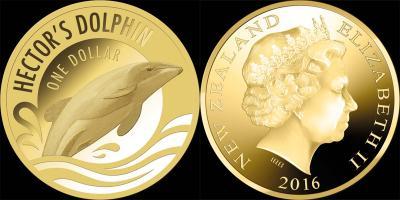 Новая Зеландия 1 доллар 2016 года «Дельфин Гектор».jpg