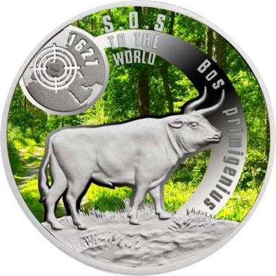 Ниуэ 1 доллар 2016 - вымершие виды - Первобытный дикий бык.jpg