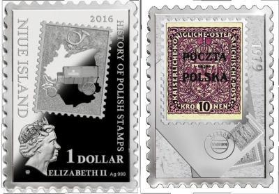 Ниуэ 1 доллар 2016 - История польских марок.jpg