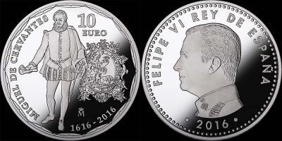 Испания, 10 евро 2016  Мигель Сервантес.jpg