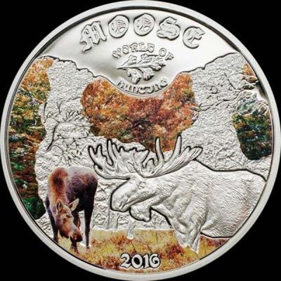 Острова Кука 2 доллара 2016 года, монета серии «Мир охоты. Лоси».jpg