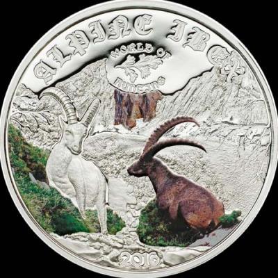 Острова Кука 2 доллара 2016 года, монета серии «Мир охоты. Альпийский козел».jpg