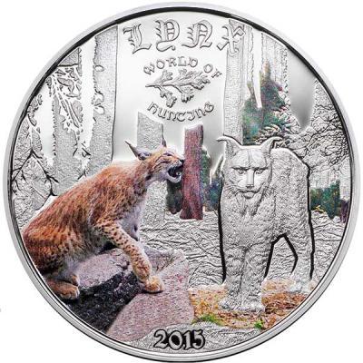 Острова Кука 2 доллара 2015 года, монета серии «Мир охоты.Рысь».JPG
