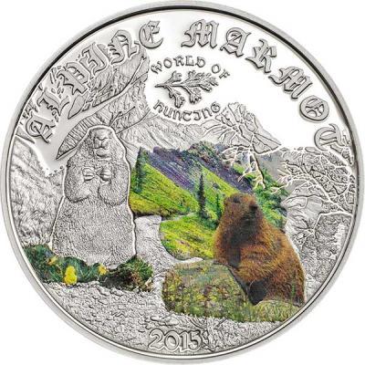 Острова Кука 2 доллара 2015 года, монета серии «Мир охоты. Альпийский сурок».jpg