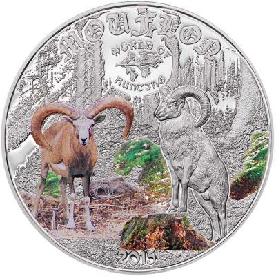 Острова Кука 2 доллара 2015 года, монета серии «Мир охоты. Азиатский муфлон».jpg