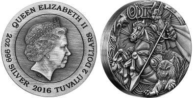 Тувалу 2016 год, 2 доллара, скандинавский бог - Один.jpg