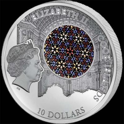 Острова Кука 10 долларов 2016 года «Пальмский собор»(аверс).jpg