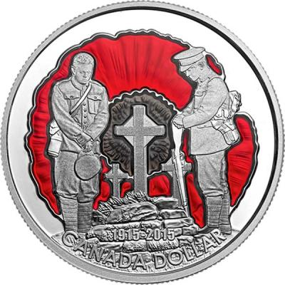 Канада 1 доллар 2015 года цвет «День памяти».jpg