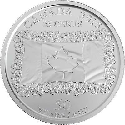 Канада 25 центов 2015 года «50 лет Флагу Канады».jpg