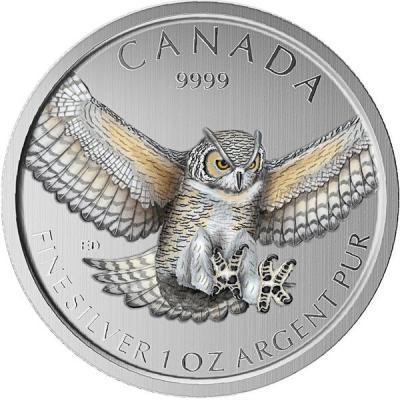Канада 5 долларов 2015 года цвет «Полярная сова».jpg