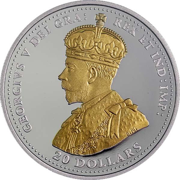 Канада 20 долларов Первая мировая война Георг V позолота (аверс).jpg