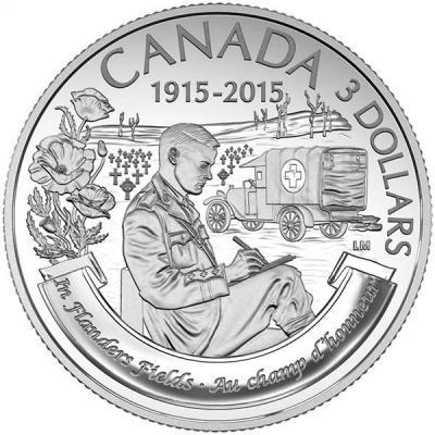 Канада 3 доллара 2015 года «На полях Фландрии» (Георг V).jpg