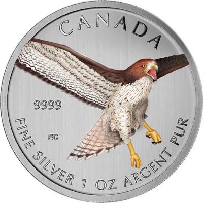 Канада 1 oz   2015 года цвет «Красный ястреб».jpg