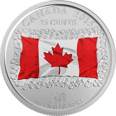Канада 25 центов 2015 года цвет «50 лет Флагу Канады».jpg