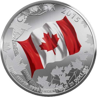 Канада 25 долларов 2015 года «50 лет Флагу Канады».jpg