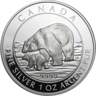 Канада 5 долларов 2015 года «Полярный медведь с детёнышем».jpg