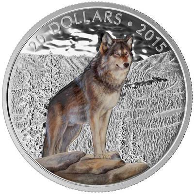 Канада 20 долларов 2015 года «Североамериканский лесной волк».jpg