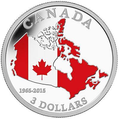 Канада 3 доллара 2015 года «50 лет Флагу Канады».jpg