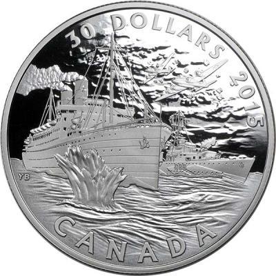 Канада 30 долларов 2015 года «Битва за Атлантику».jpg