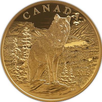 Канада 350 долларов 2015 года золото «Волк - одиночка».jpg