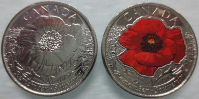Канада 25 центов 2015 Первая мировая «На полях Фландрии».jpg