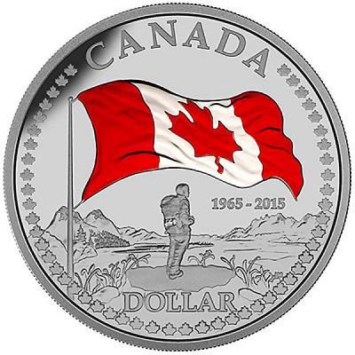 Канада 1 доллар 2015 года цвет «50 лет Флагу Канады».jpg