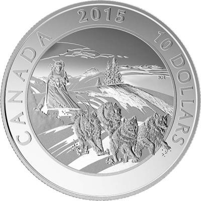 Канада 10 долларов 2015 год «Гонка на собачьих упряжках».jpg