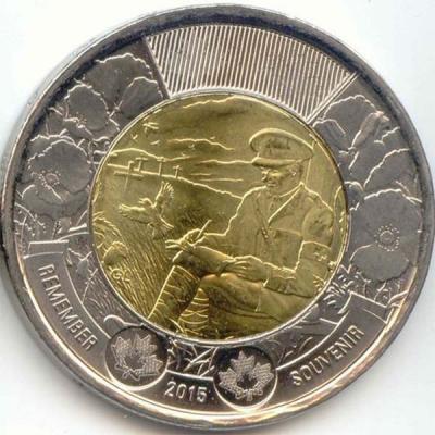 Канада 2 доллара 2015 Первая мировая «На полях Фландрии».jpg