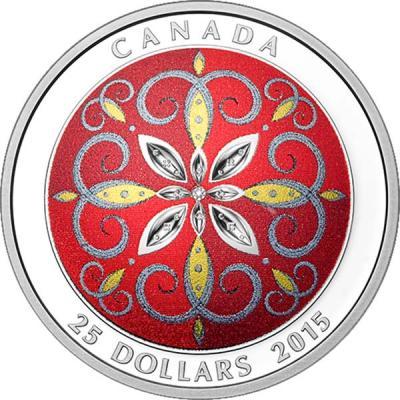 Канада 25 долларов 2015 Рождественский орнамент.jpg