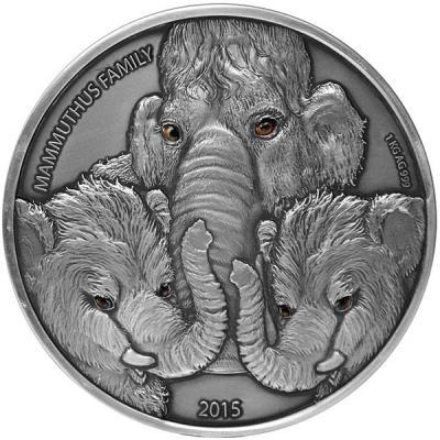 Буркино Фасо 10 000 франков 2015 года Мамонт с 2 детёнышами  1 кг (реверс).jpg