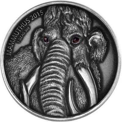 Буркино Фасо 1000 франков 2015  Мама мамонтёнка (Животные доисторических времен).jpg