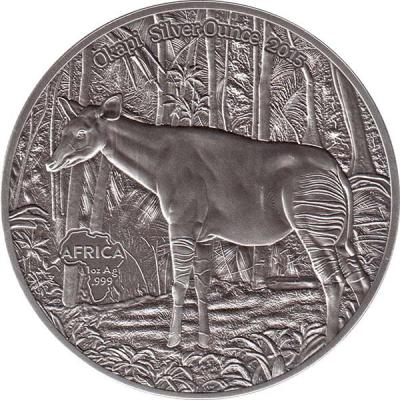 Конго 1000 франков 2015 года «Окапи».jpg