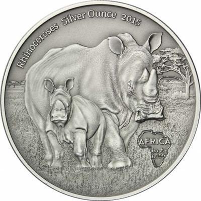 Конго 1000 франков 2015 года «Носороги».jpg