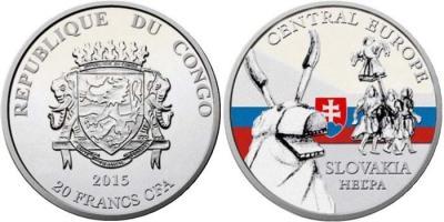 Конго 5 х 20 франков «Ритуальные маски регионов мира» (Словакия).jpg