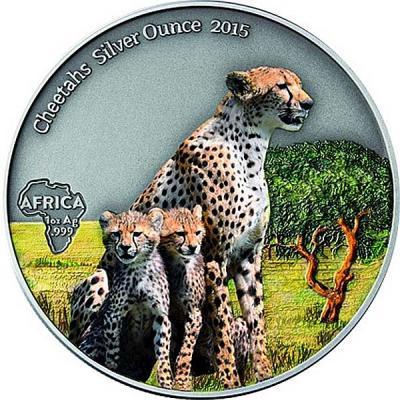 Габон 1000 франков 2015 года цветная  «Гепарды».jpg