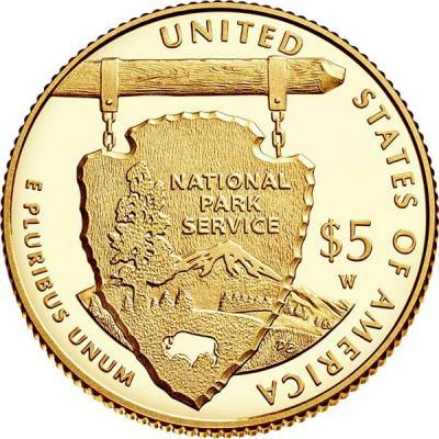 США 5 долларов 2016  год. Служба национальных парков - 100 лет (реверс).jpg
