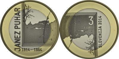 26 августа 1814 года родился - Янеш Пухар (Janez Puhar) Словения 3, 30 и 100 евро 2014.jpg