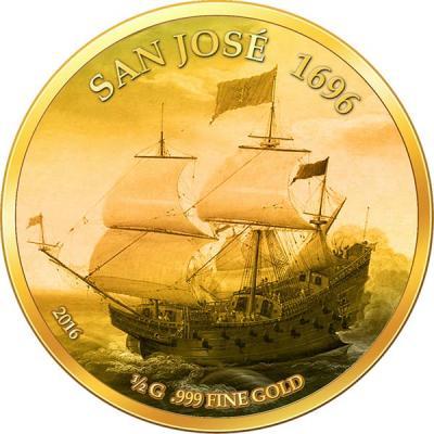 Мали 100 Francs золото 2016 Сан-Хосе (галеон).jpg