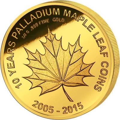 Мали 100 Francs золото 2015 (10 лет Канадскому листу).jpg
