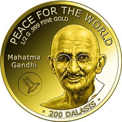 Гамбия 200 даласи 2015 года «Махатма Ганди».jpg