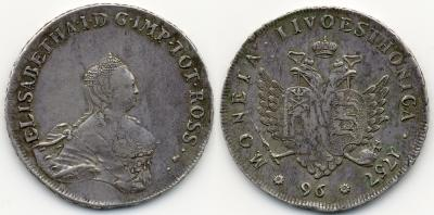 Livonaise (Rubel zu 96 Kopeken) 1757, Moskau, Roter Münzhof, geprägt für Livland und Estland. 26,23 g. Bitkin 627 (R); Dav. 1690; Diakov 605 (R2). RR.jpg