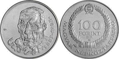 4 сентября 1883 года родился - Кзобель Бела (Венгрия, 100 форинтов 1983 года).jpg