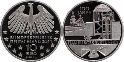 7 сентября 1911 года состоялось открытие тоннеля под Эльбой.(Deutschland-10-Euro-2011).jpg