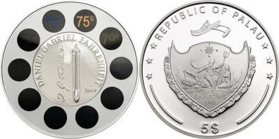 16 сентября 1736 Даниэль Габриэль Фаренгейт(Палау 5 долларов 2014).JPG