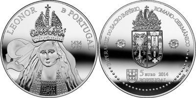 18 сентября 1434 года родилась — Элеонора Елена Португальская (Portugal-2014-5-euro-Cu-Ni, 5-euro- серебро, 5-euro-золото).jpg