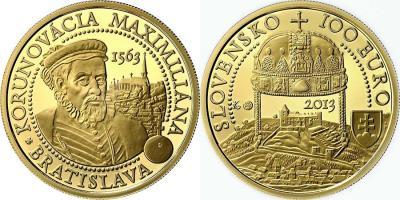 20 сентября 1562 года Максимилиан II был коронован как король Богемии (Словакия-2013-100-euro).jpg